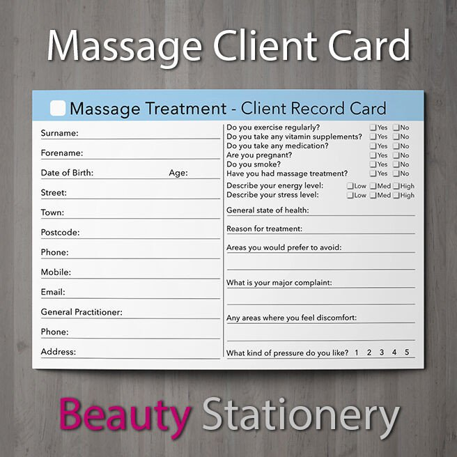 Waxing Consultation form Template Massage Client Record Card Treatment Consultation Massage