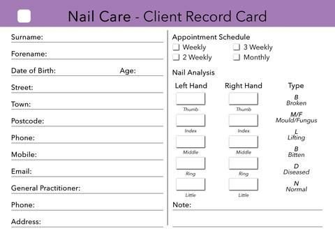Waxing Consultation form Template Nail Care Client Card Treatment Consultation Card In