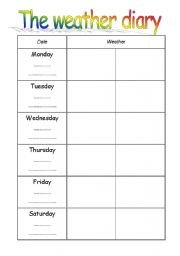 Weather Journal Template English Worksheets the Weather Diary