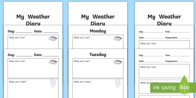 Weather Journal Template My Weather Diary Booklet Template Weather Diary My
