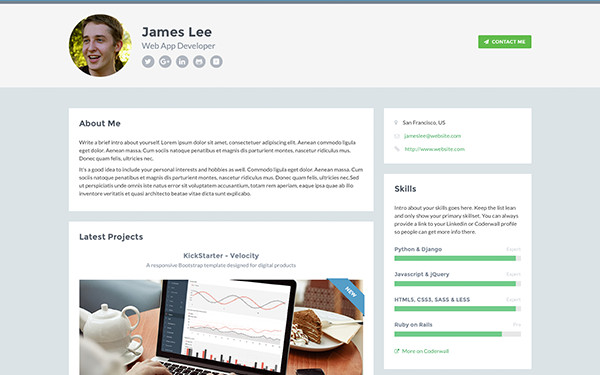 Web Developer Portfolio Templates Developer Free Bootstrap 4 Portfolio theme for Developers