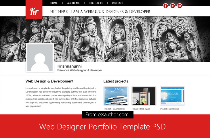 Web Developer Portfolio Templates Web Designer Portfolio Template Psd for Free Download
