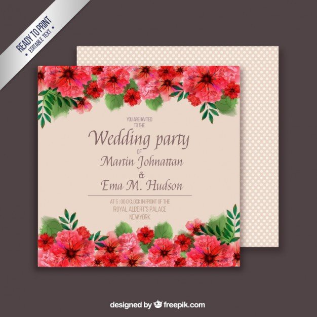 Wedding Card Template Free Download Floral Wedding Card Template Vector