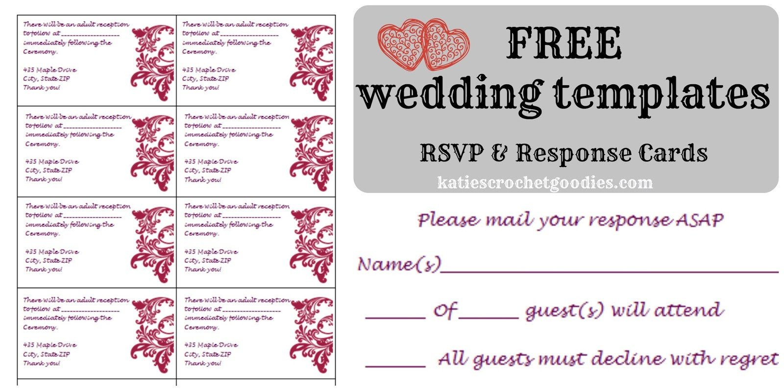 Wedding Card Template Free Download Free Wedding Templates Rsvp & Reception Cards Katie S