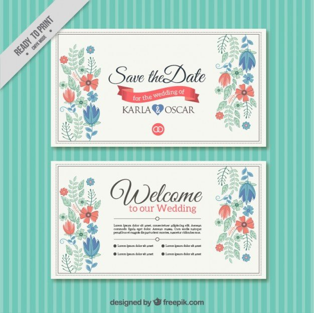 Wedding Card Template Free Download Pretty Floral Wedding Card Template Vector