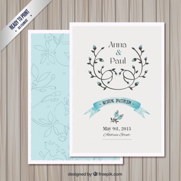 Wedding invitation card template Vector