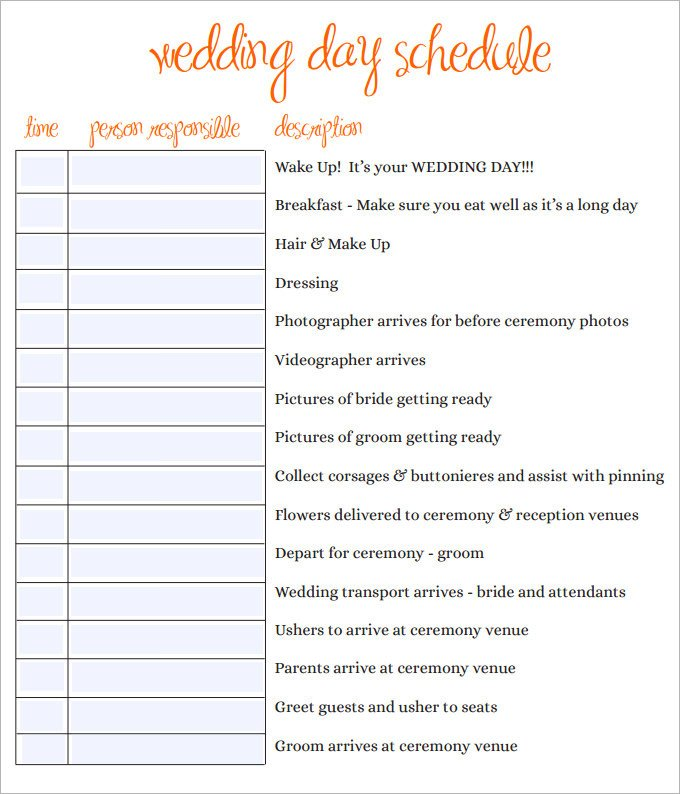 Wedding Day Schedule Templates 28 Wedding Schedule Templates & Samples Doc Pdf Psd
