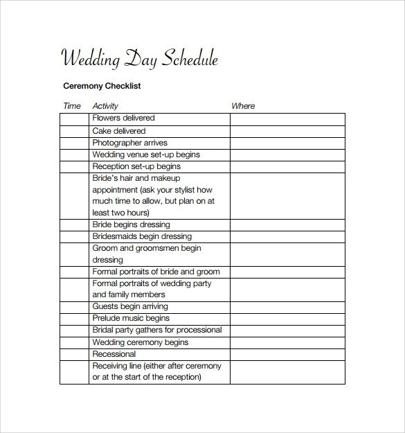 Wedding Day Schedule Templates Sample Wedding Schedule Template 11 Documents In Pdf