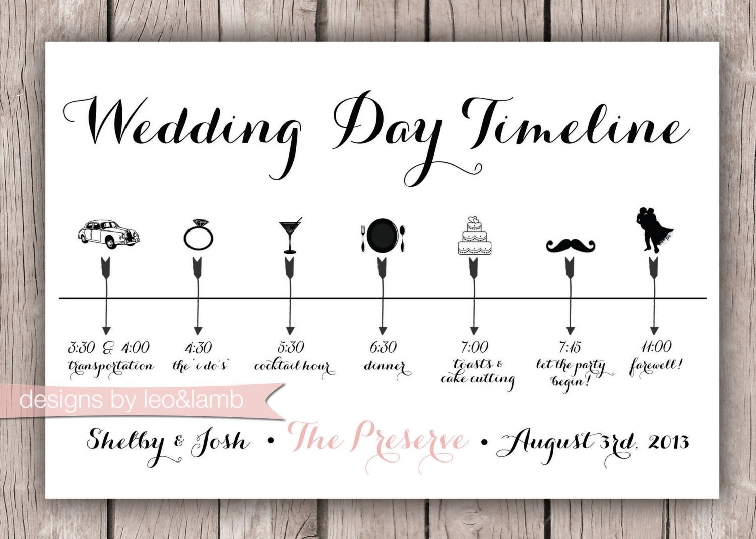 Wedding Day Timeline Template Free Custom Wedding Timeline 5x7 Digital File