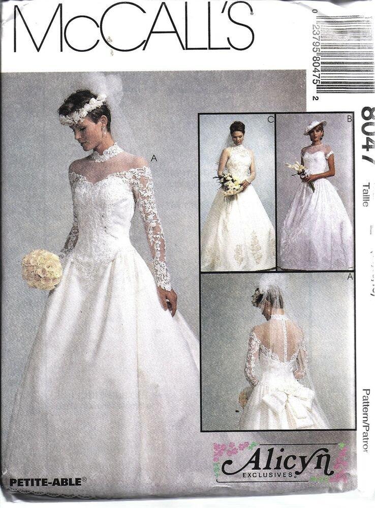 Wedding Dress Patterns Free 8047 Uncut Vintage Mccalls Sewing Pattern Misses Bridal