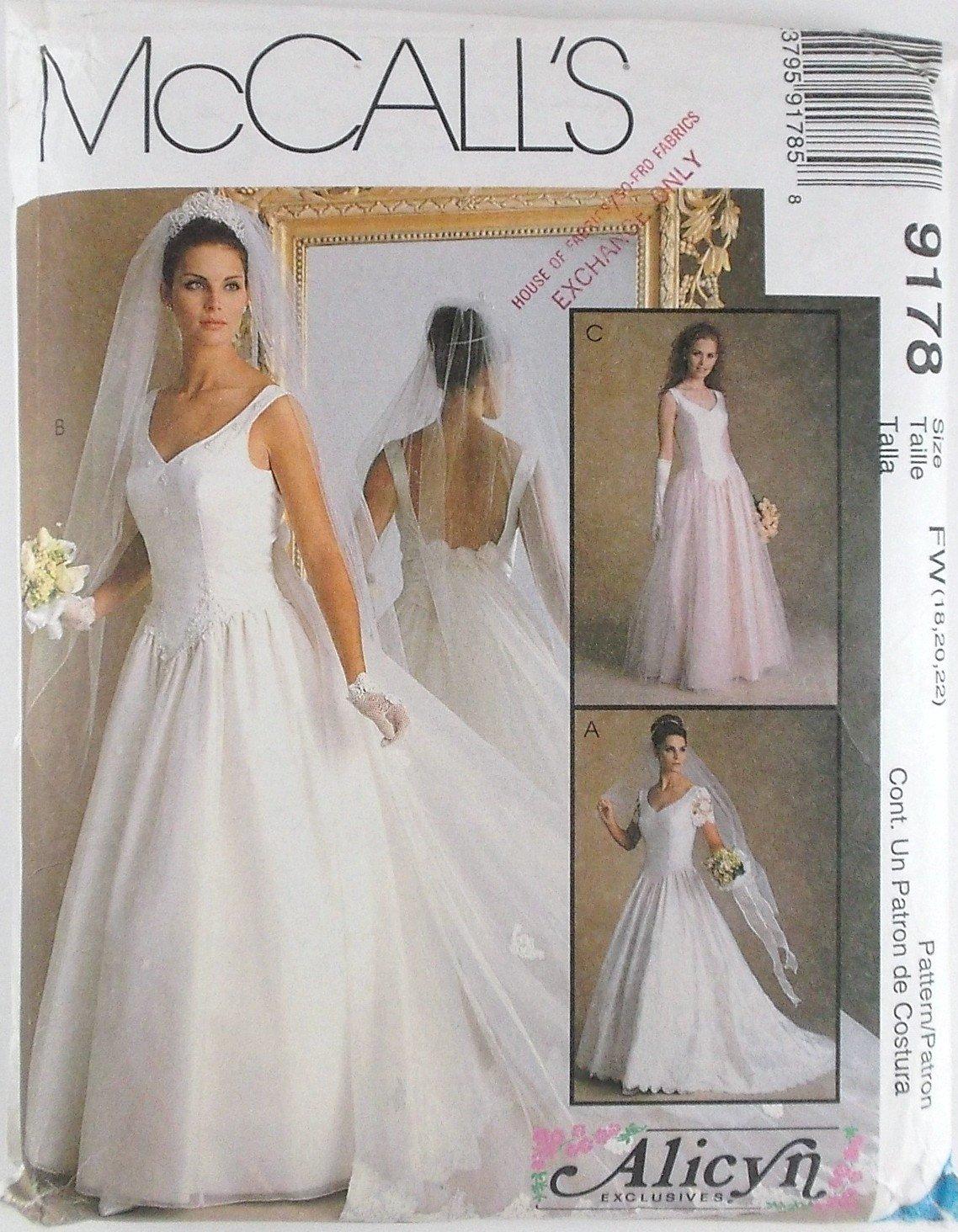 Wedding Dress Patterns Free Misses Bridal Gowns Dress Plus Sizes Mccalls Pattern 9178