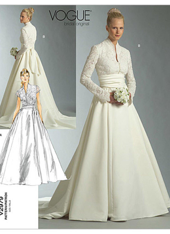 Wedding Dress Patterns Free Sz 12 14 16 Vogue Wedding Dress Pattern V2979 Misses