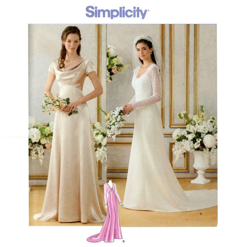 Wedding Dress Patterns Free Wedding Dress Pattern Bust 36 44 Uncut Simplicity 1909 Bride