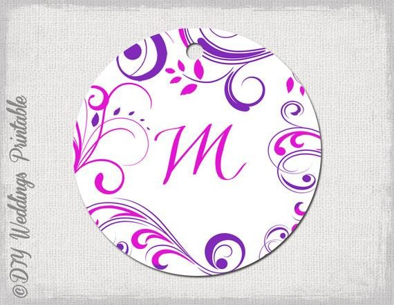 Wedding Favor Tag Template Wedding Favor Tags Template Pink & Purple Monogram