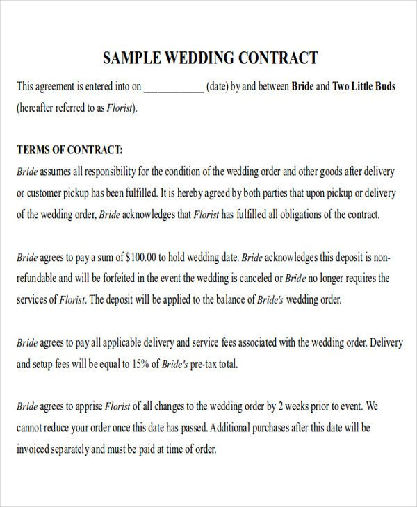 Sample Wedding Contract Agreements 9 Examples in Word PDF