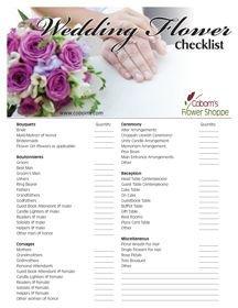 Wedding Flower Checklist Template Coborn S Blog Free Printable Wedding Flower Checklist