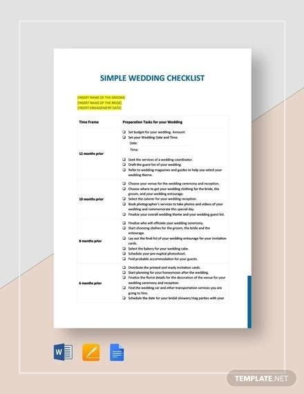 Wedding Flower Checklist Template Printable Wedding Checklist Sample 11 Examples In Pdf Word