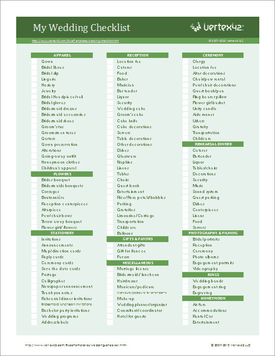 Wedding Planning Checklist for Excel