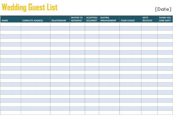 Wedding Guest List Excel 17 Best Ideas About Wedding Spreadsheet On Pinterest