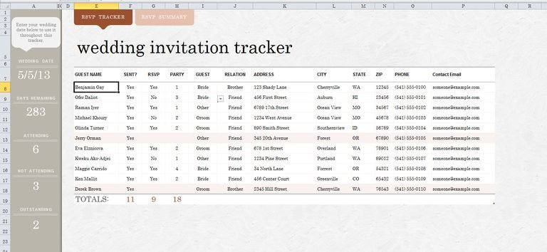 Wedding Guest List Excel 7 Free Wedding Guest List Templates and Managers