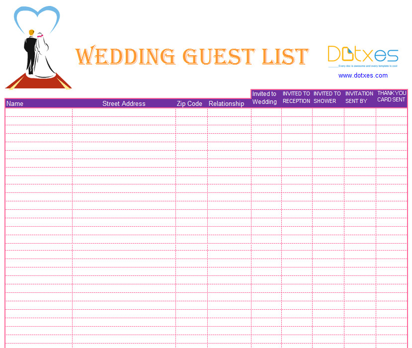 Wedding Guest List Excel A Preofesional Excel Blank Wedding Guest List