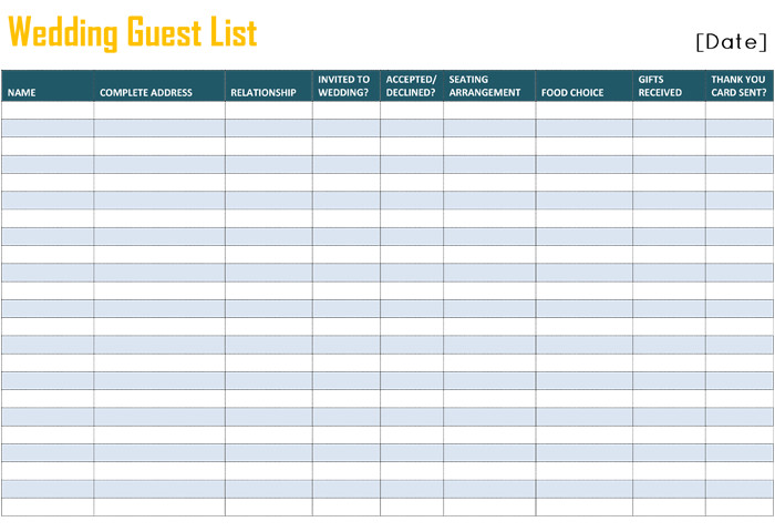 Wedding Guest List Excel Free Printable List Templates