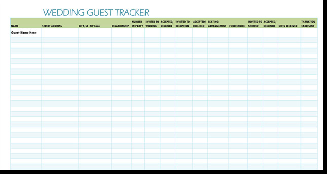Wedding Guest List Excel Free Wedding Guest List Templates for Word and Excel