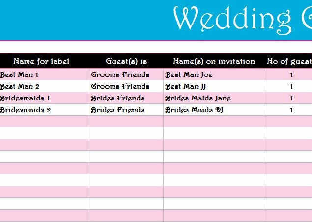 Wedding Guest List Excel Wedding Guest List Register My Excel Templates