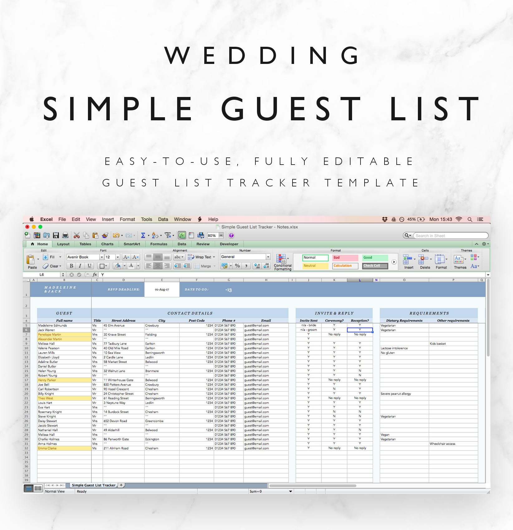 Wedding Guest List Excel Wedding Guest List Spreadsheet Wedding Guest List Tracker
