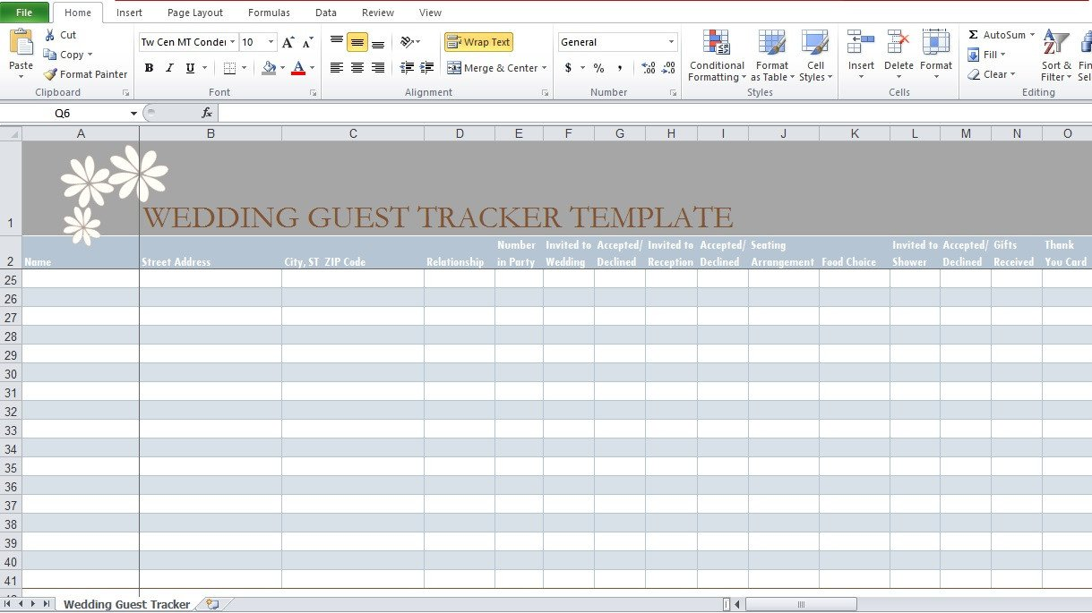 Wedding Guest List Excel Wedding Guest List Template In Excel Excel Tmp