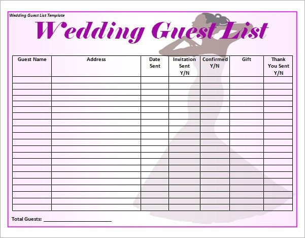 17 Wedding Guest List Templates PDF Word Excel