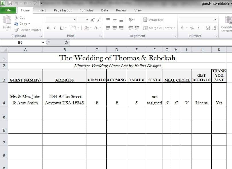 Wedding Guest List Template Excel 17 Wedding Guest List Templates Excel Pdf formats