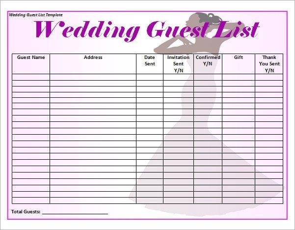 Wedding Guest List Template Excel 17 Wedding Guest List Templates Pdf Word Excel