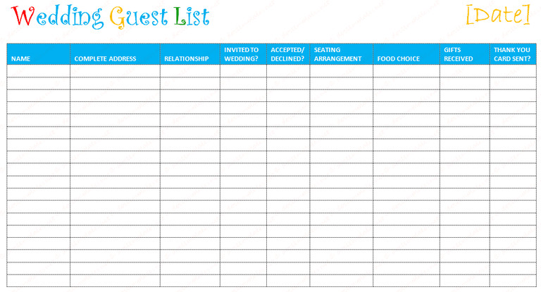 Wedding Guest List Template Excel 7 Free Wedding Guest List Templates and Managers