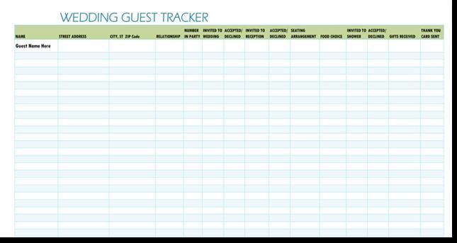Wedding Guest List Template Excel Free Wedding Guest List Templates for Word and Excel