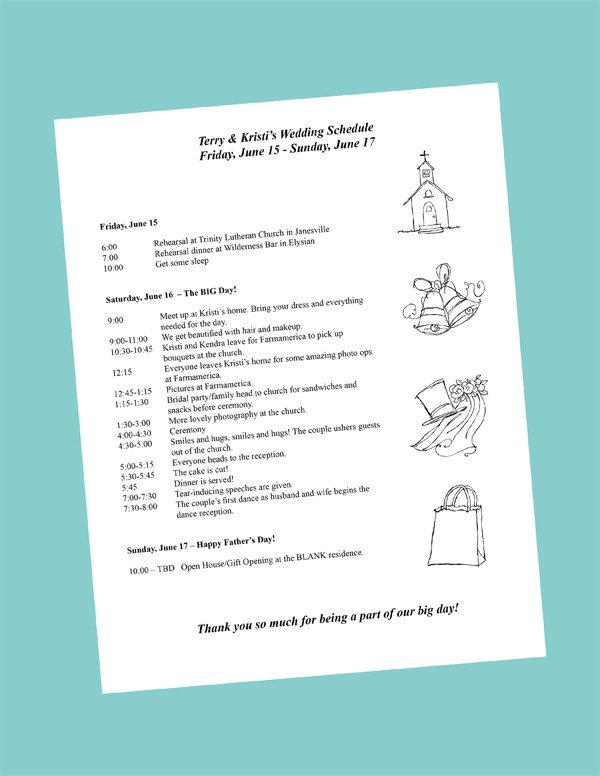 Wedding Itinerary Templates Free Putting to Her Your Wedding Day Itinerary