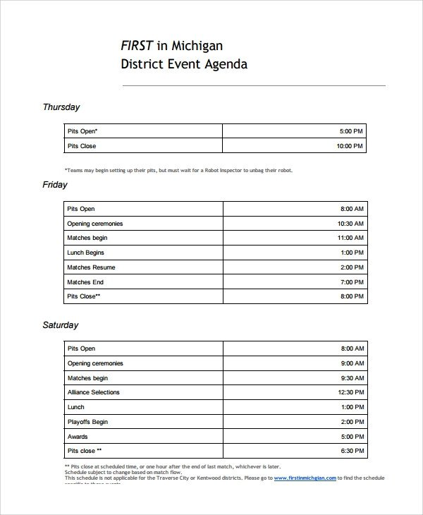 Sample Event Agenda 7 Documents in PDF Word
