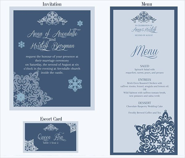 Wedding Menu Card Templates 26 Downloadable Wedding Cards