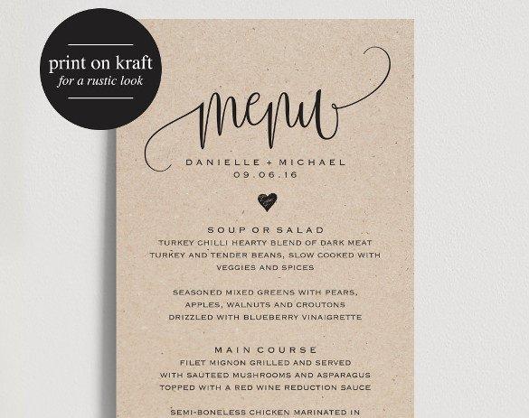 Wedding Menu Card Templates 37 Wedding Menu Template – Free Sample Example format