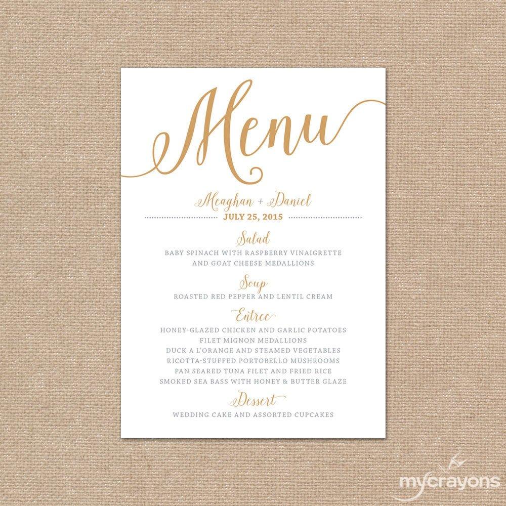 Wedding Menu Card Templates Gold Wedding Menu Card Printable Wedding Menu Bella Script