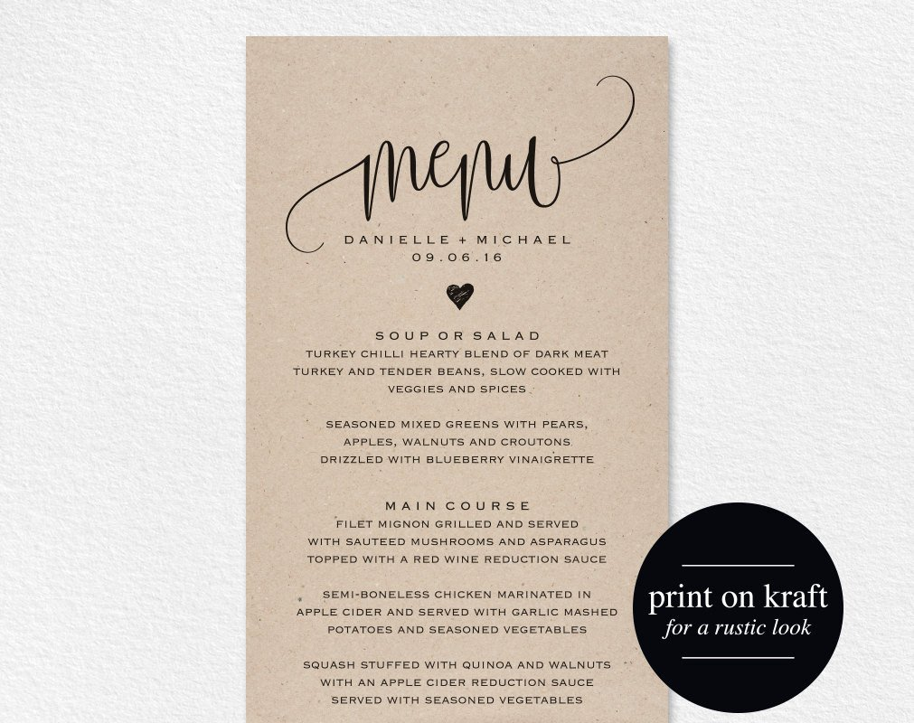 Wedding Menu Card Templates Rustic Wedding Menu Wedding Menu Template Menu Cards Menu