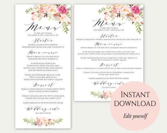 Wedding Menu Card Templates Wedding Menu Template 5x7 4x9 Wedding Menu Cards Menu