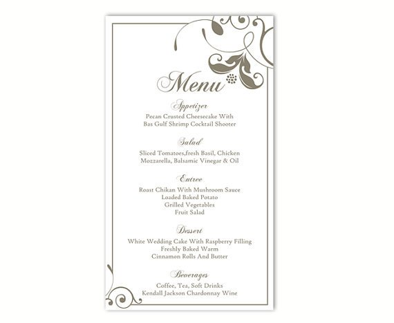 Wedding Menu Card Templates Wedding Menu Template Diy Menu Card Template Editable Text