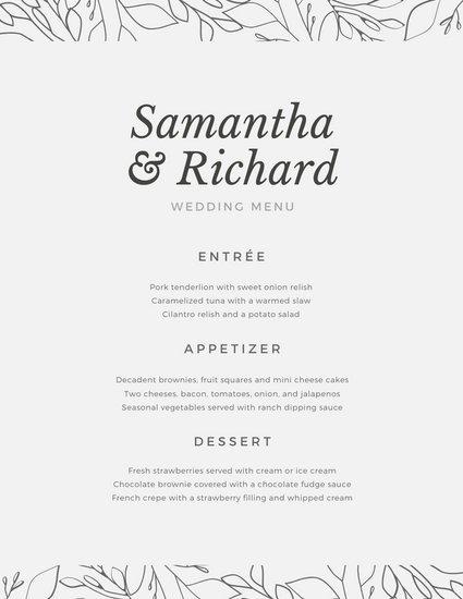 Wedding Menu Template Free Customize 132 Wedding Menu Templates Online Canva
