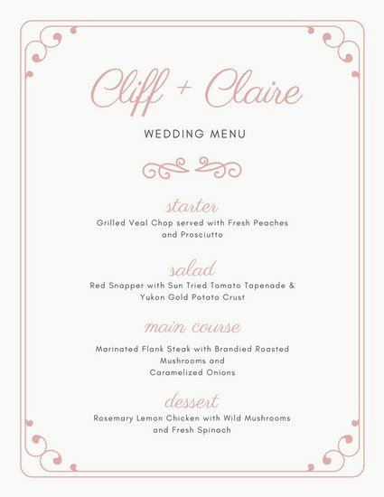 Wedding Menu Template Free Customize 273 Wedding Menu Templates Online Canva