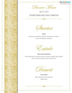 Wedding Menu Template Free Free Printable Wedding Menu Templates