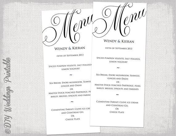 Wedding Menu Template Free Menu Template Black and White Wedding Menu Diy Wedding Menu