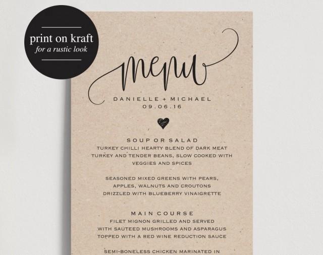 Wedding Menu Template Free Rustic Wedding Menu Wedding Menu Template Menu Cards