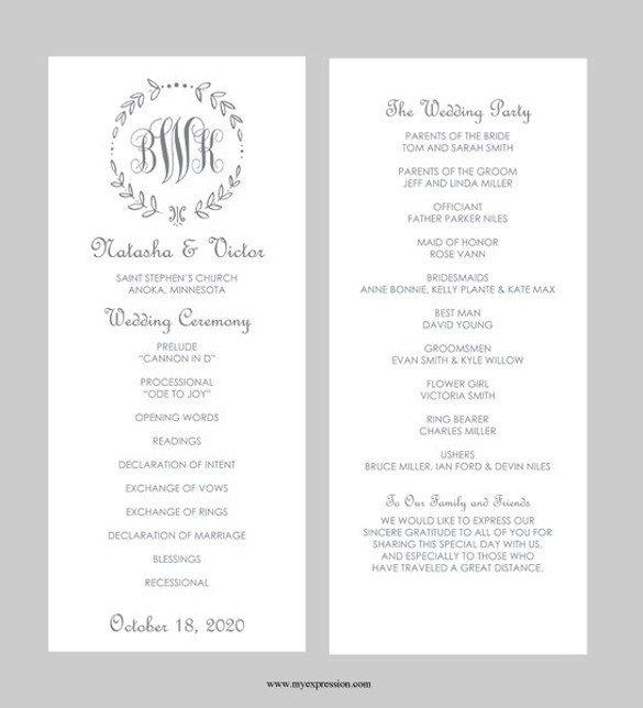 Wedding Program Template Microsoft Word 43 Wedding Templates Word