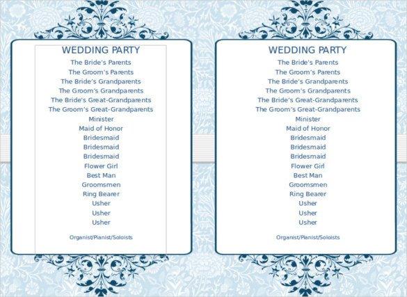 Wedding Program Template Microsoft Word 8 Word Wedding Program Templates Free Download